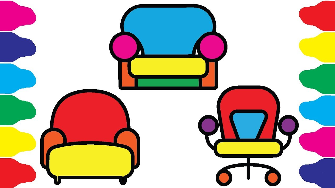 1280x720 How To Draw Chair, Sofa, Furniture Furniture Coloring