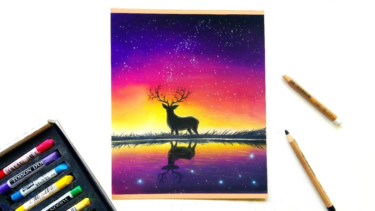 1280x720 purple night sky pastel drawing leontine van vliet