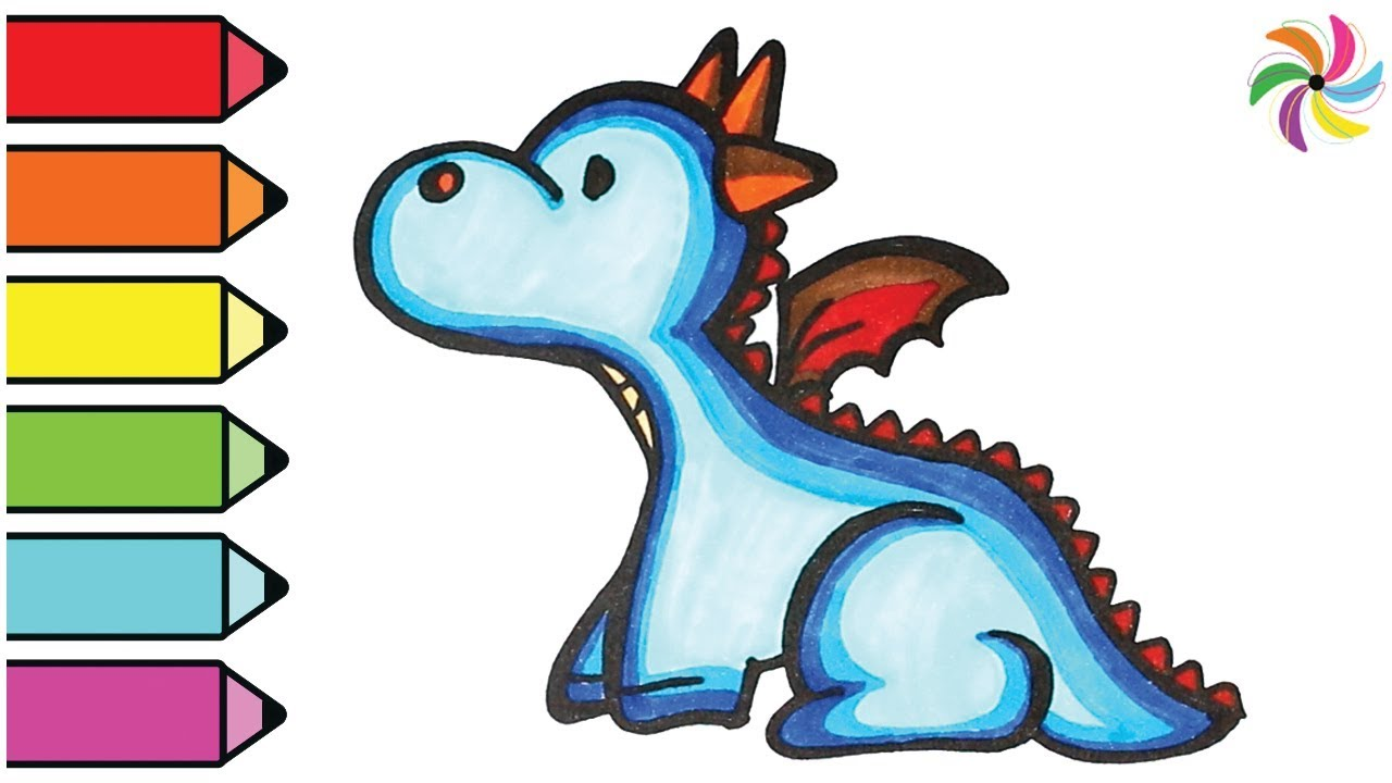 1280x720 Dragon Drawing And Coloring Learn Colors For Children