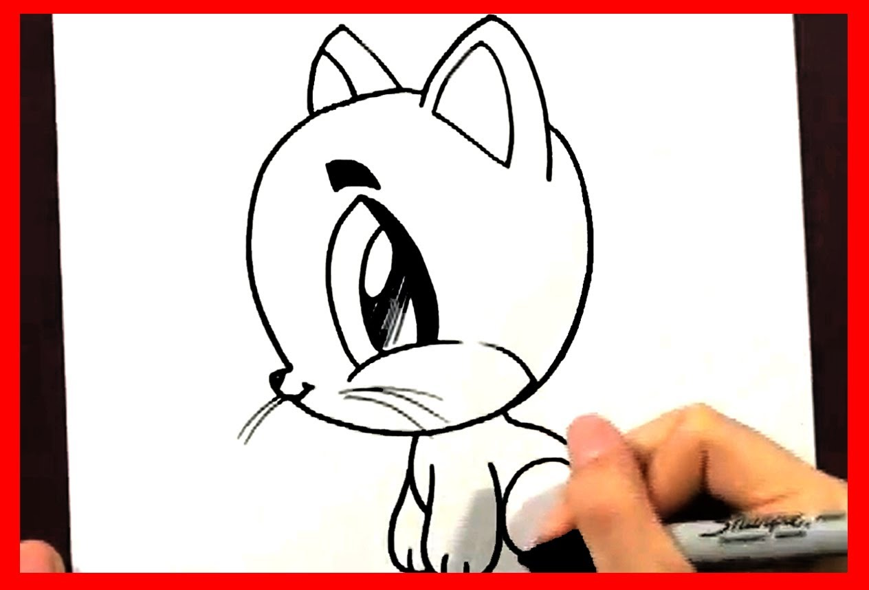1264x858 How To Draw A Cartoon Cat How To Draw Easy Things Animals