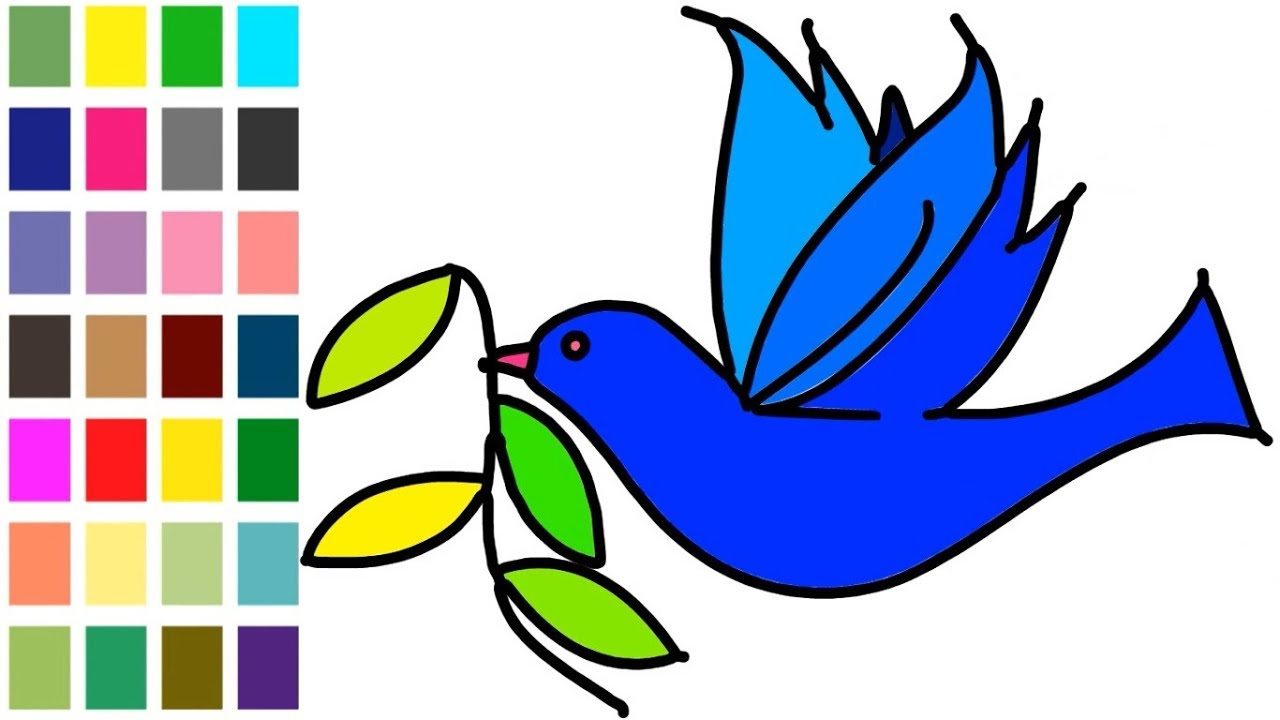 1280x720 How To Drawing Bird With Leaf Coloring Learn For Kids Step
