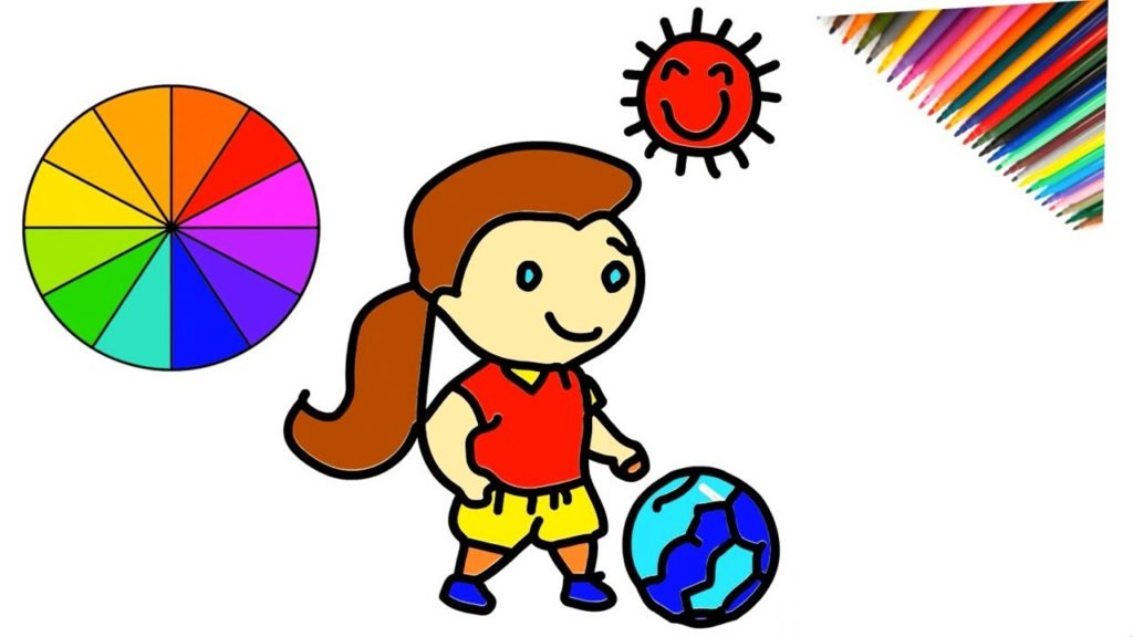 1024x576 How To Drawing Playing Football And Coloring For Kids Step