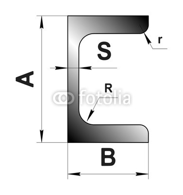 377x400 Technical Drawing Rolled Metal Steel Channel Profile Image