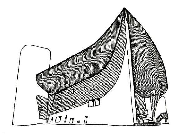 570x430 le corbusier's chapel of notre dame du haut in ronchamp sketch