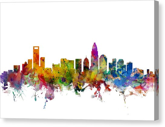 546x422 Charlotte Skyline Canvas Prints Fine Art America
