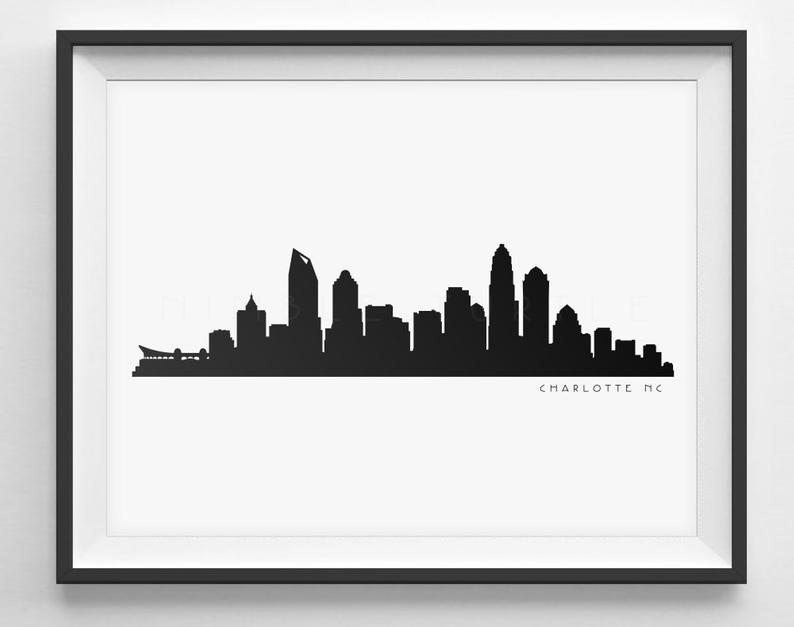 794x627 Charlotte Skyline Silhouette Printable Skyline Etsy