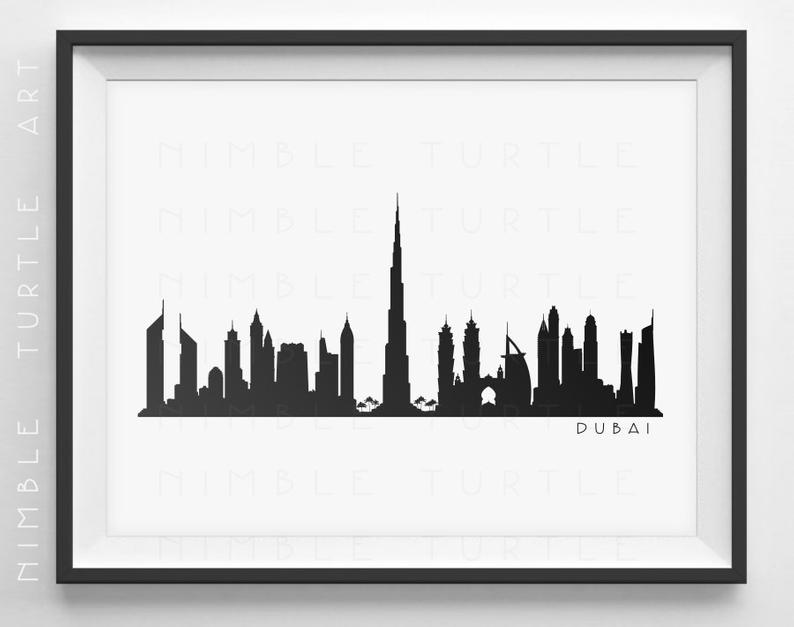 794x627 Dubai Skyline Silhouette Printable Skyline Dubai Uae Etsy
