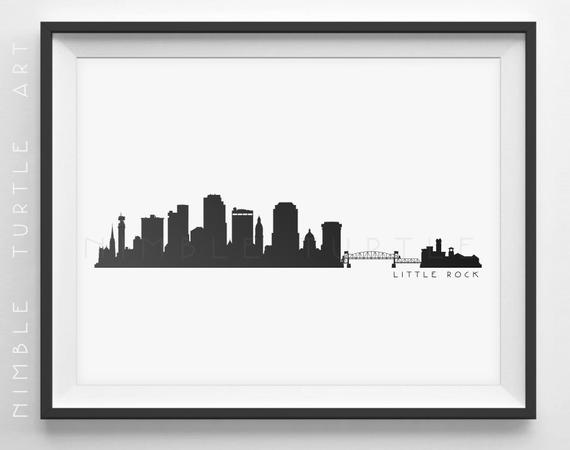 570x450 Little Rock Skyline Silhouette Printable Skyline Etsy