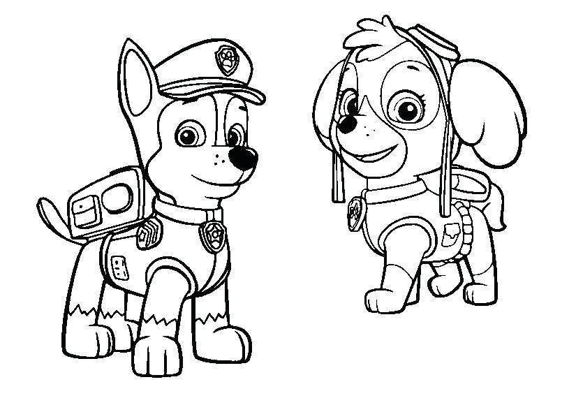 825x600 paw patrol colouring pages chase rubble paw patrol coloring