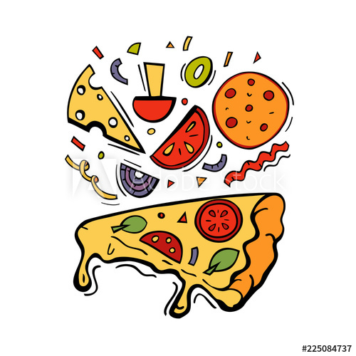 500x500 color illustration for pizza menu with pizza slice ingredients