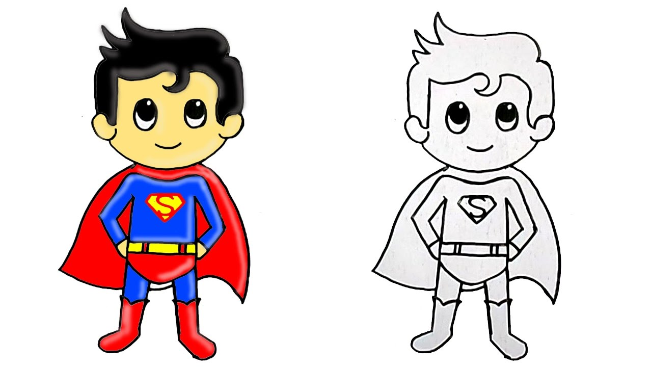 1280x720 How To Draw Superhero Superman Cute Step