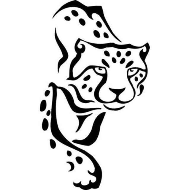 640x640 Cheetah Drawing Tribal For Free Download