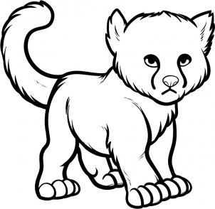 302x294 Drawing Printout How To Draw A Baby Cheetah, Baby Cheetah