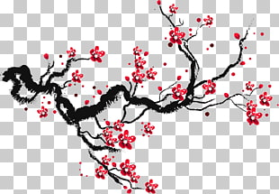 310x215 Cherry Blossom Drawing Paper Sketch, Ink Cherry Blossoms, Red