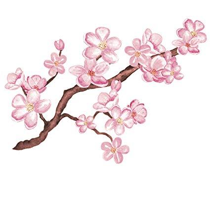 425x425 Pretty Pink Cherry Blossom Branch Vinyl Decal Sticker