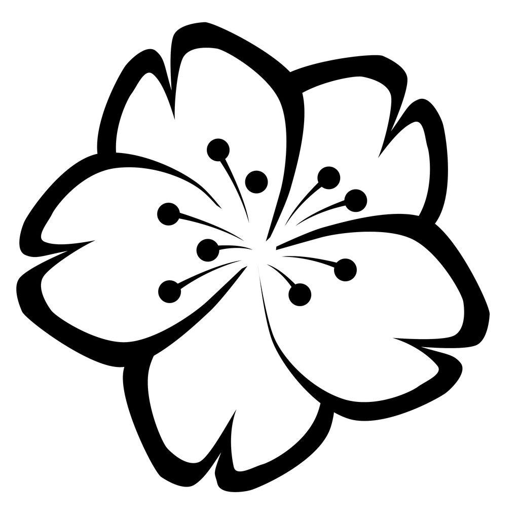 1024x1024 Cherry Blossom Clip Art Black And White