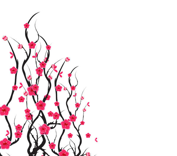 599x528 Vector Cherry Blossom For Chinese New Year And Mid Autumn Festival