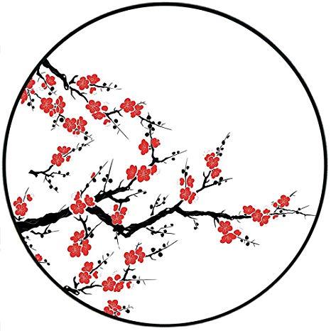 466x466 Short Plush Round Area Rug Simplistic Cherry Blossom