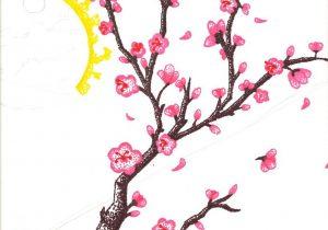 300x210 Colored Pencil Draw Cherry Blossom Branch Sakura Tree