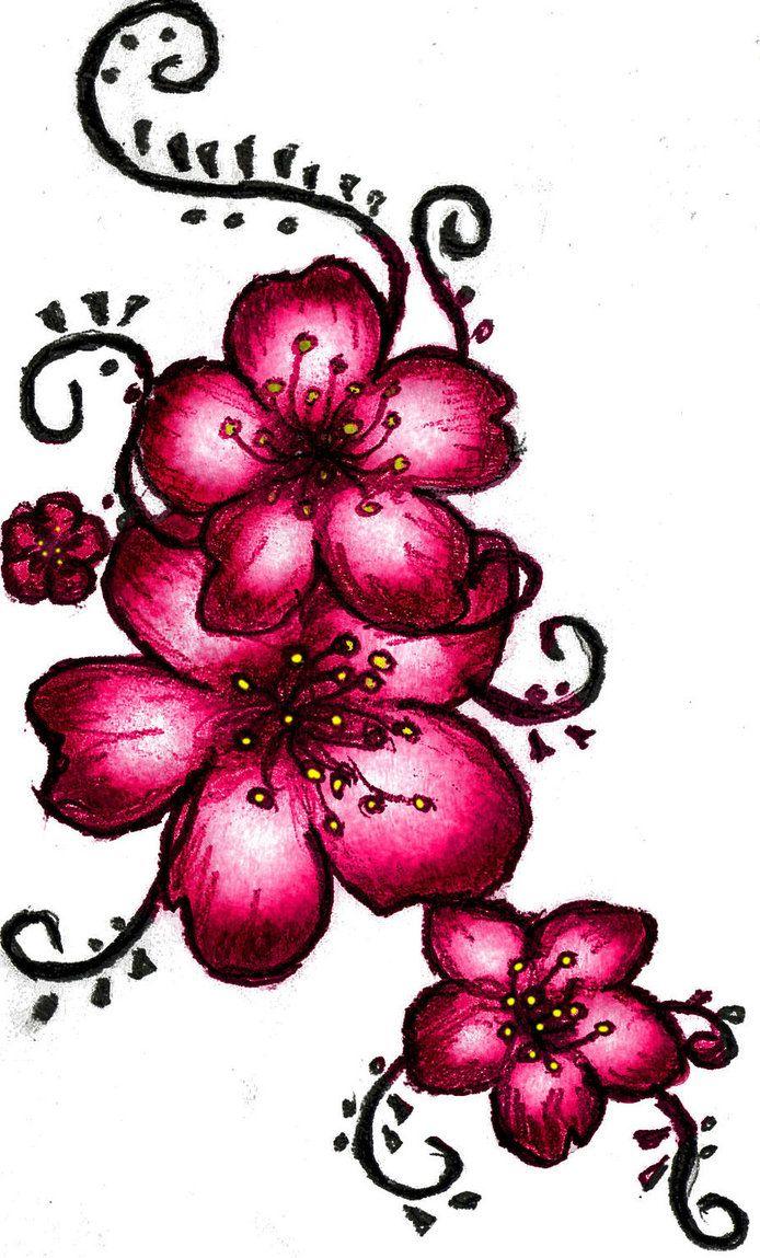 694x1149 Flower Tattoo Drawings Cherry Blossom Henna Tattoo