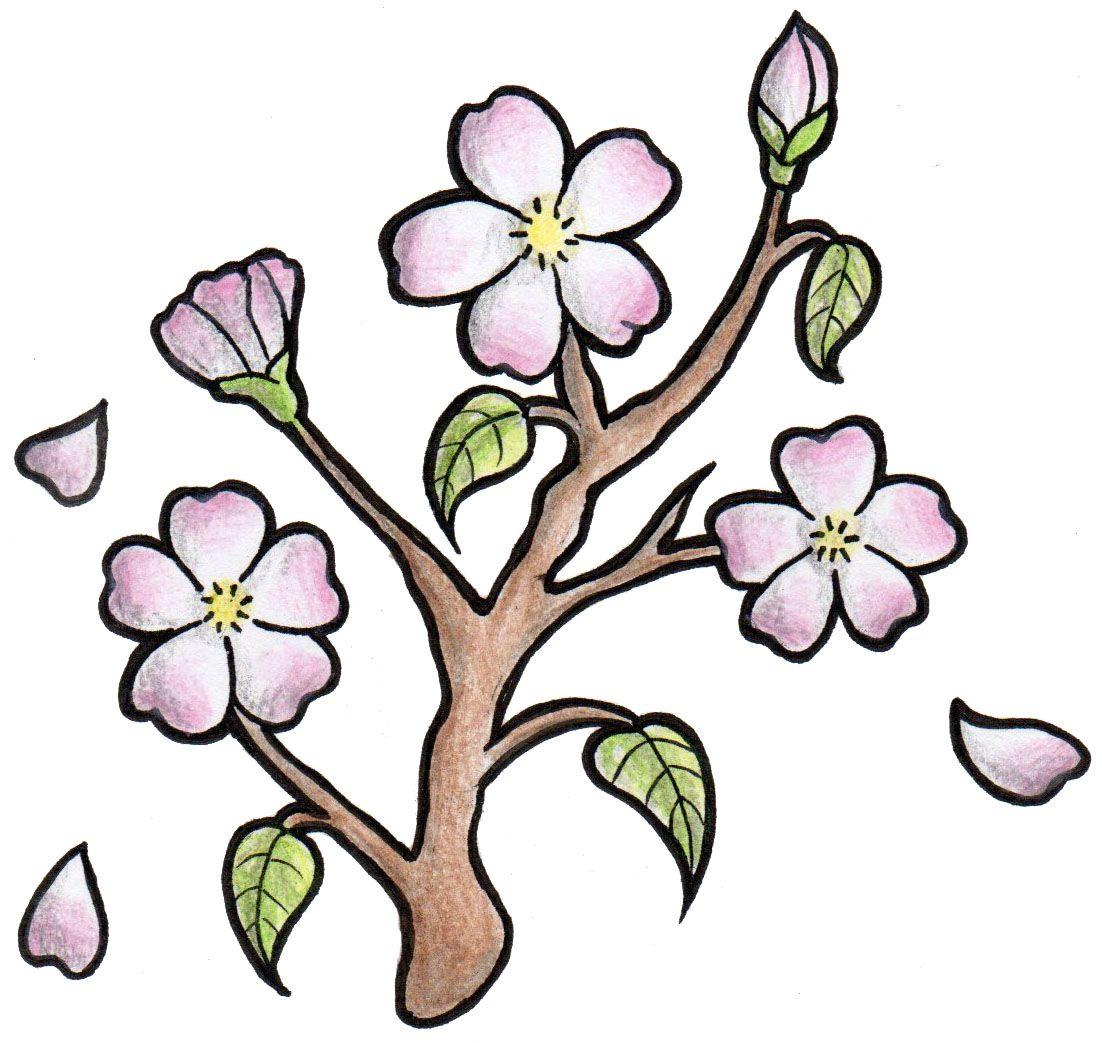 1102x1043 Cherry Blossom Tattoo Design