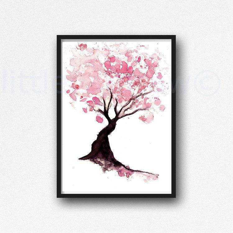 750x750 Cherry Blossom Tree Print Watercolor Painting Print Spring Etsy