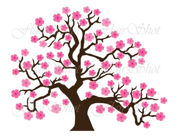 570x440 Digital Clip Art, Pink Cherry Blossom Tree Clipart, Bonsai Tree
