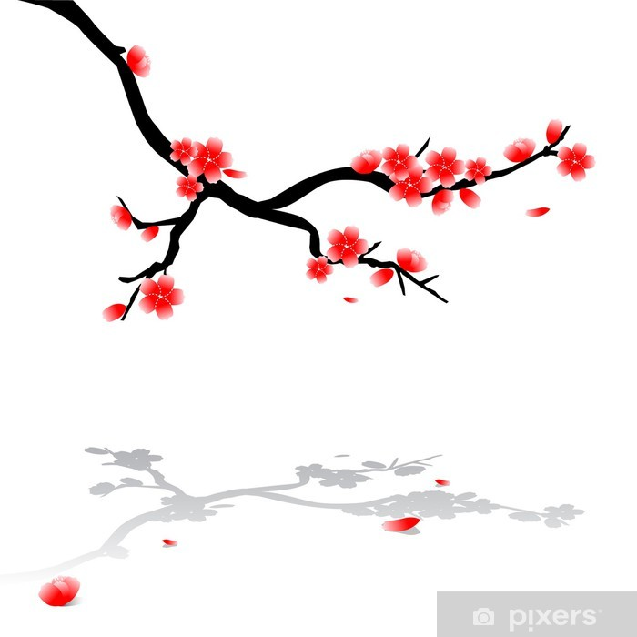 700x700 Japanese Drawing Of Cherry Tree Wall Mural
