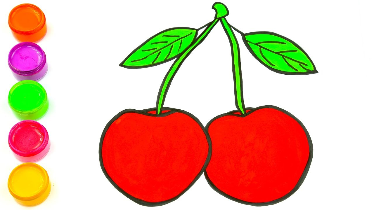 1280x720 Drawing Red Cherry Learn Drawing And Coloring For Kids Easy