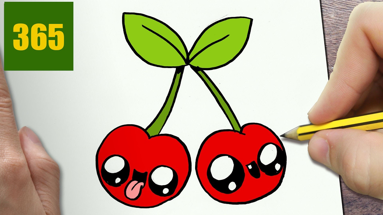 1280x720 How To Draw A Cherry Cute, Easy Step