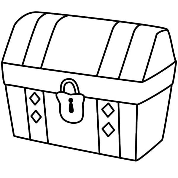 600x600 A Simple Drawing Of Locked Treasure Chest Coloring