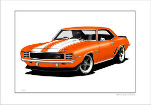 300x209 chevy camaro limited edition car drawing print