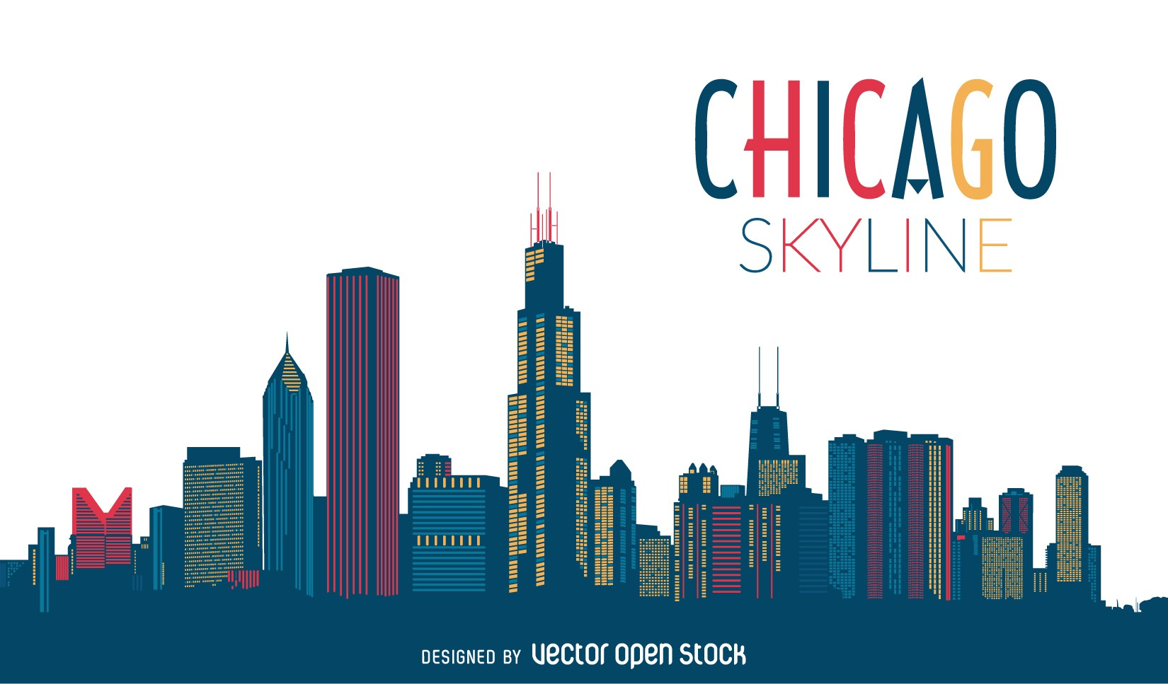 1650x967 Chicago City Skyline Silhouette Background