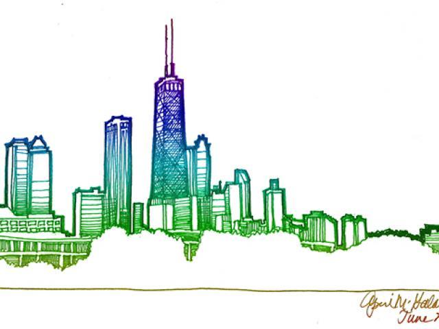 640x480 Drawn Cityscape Chicago Skyline