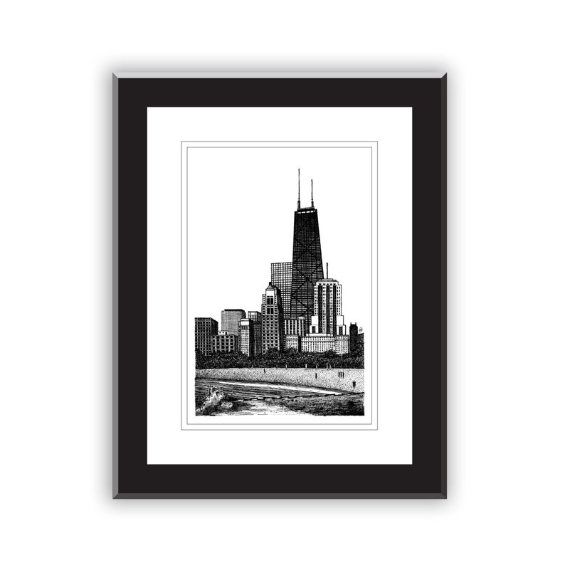 794x794 Hand Drawn Pen And Ink Chicago Skyline Lake Michigan Etsy