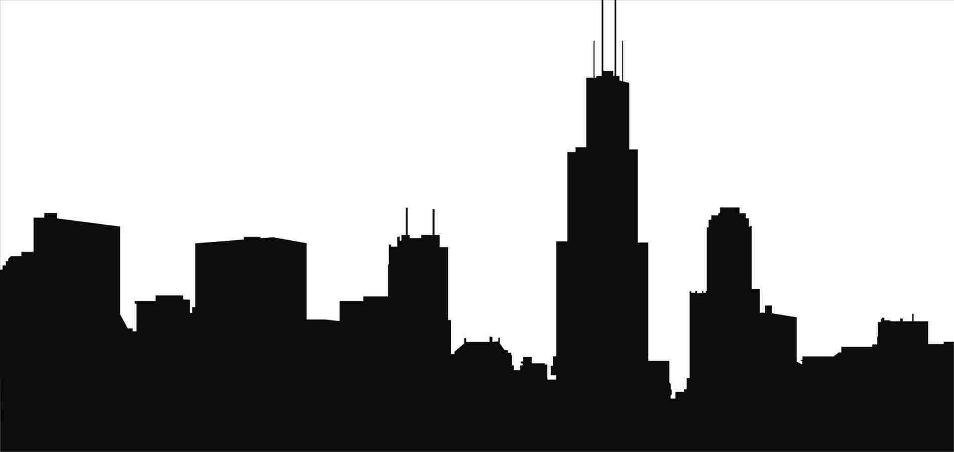 1900x901 Simple Chicago Skyline Drawing