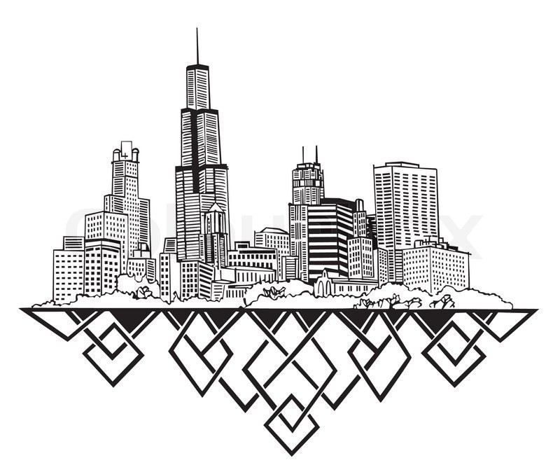 800x664 Chicago Skyline Coloring