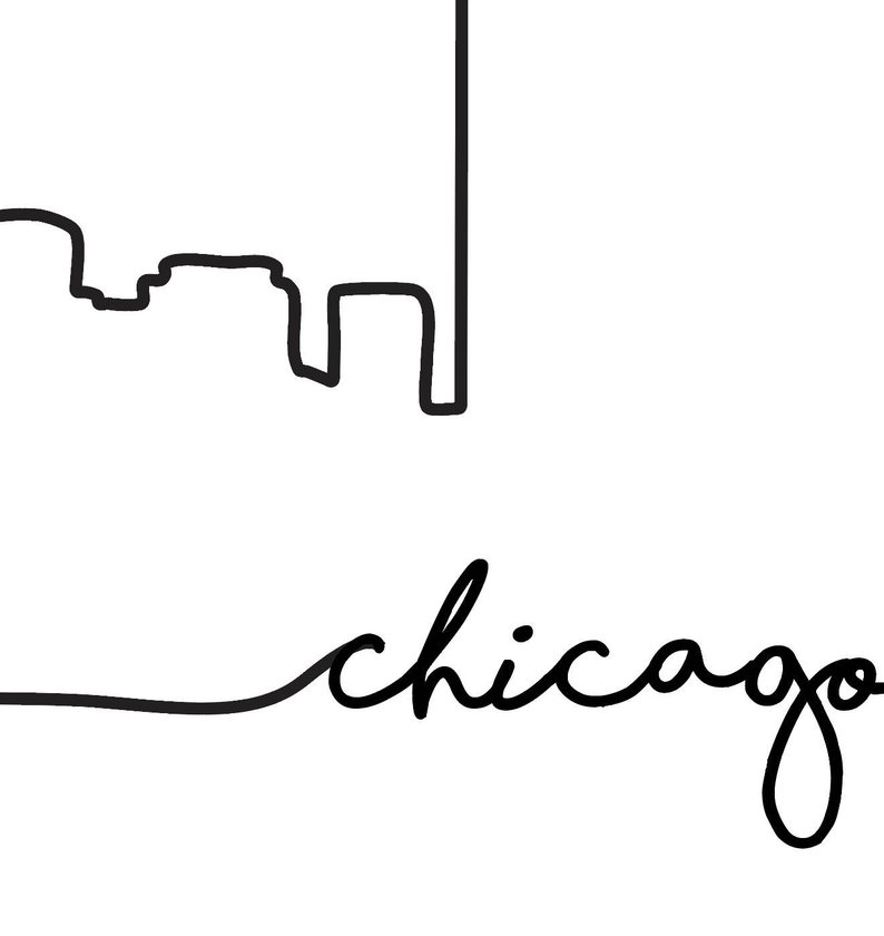 794x840 chicago skyline print city skyline outline poster city etsy