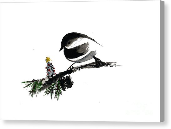 546x413 Chickadee Christmas Tree Painting