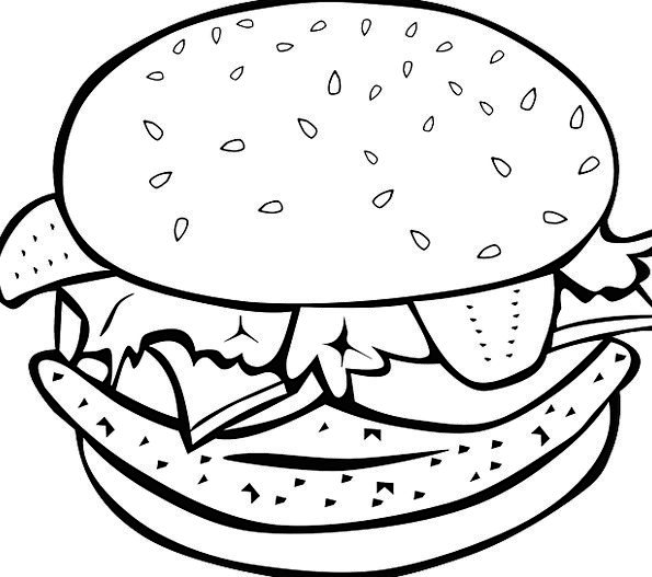 595x527 Lunch Drawing Chicken Sandwich For Free Download
