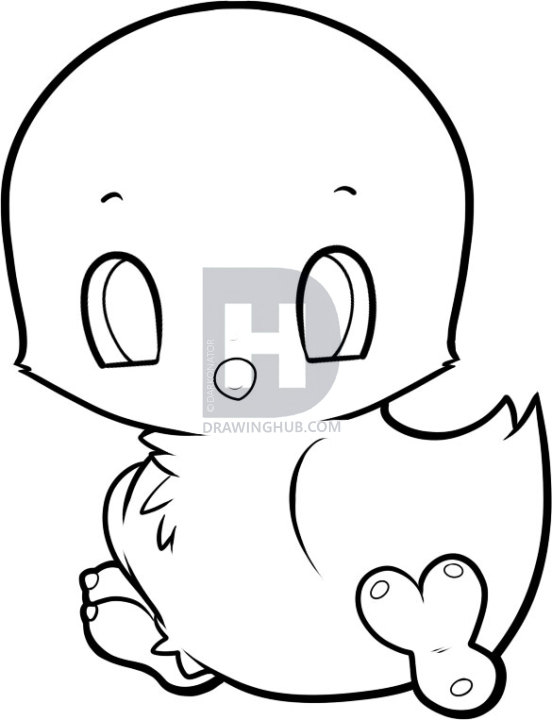 552x720 How To Draw A Baby Chicken, Step