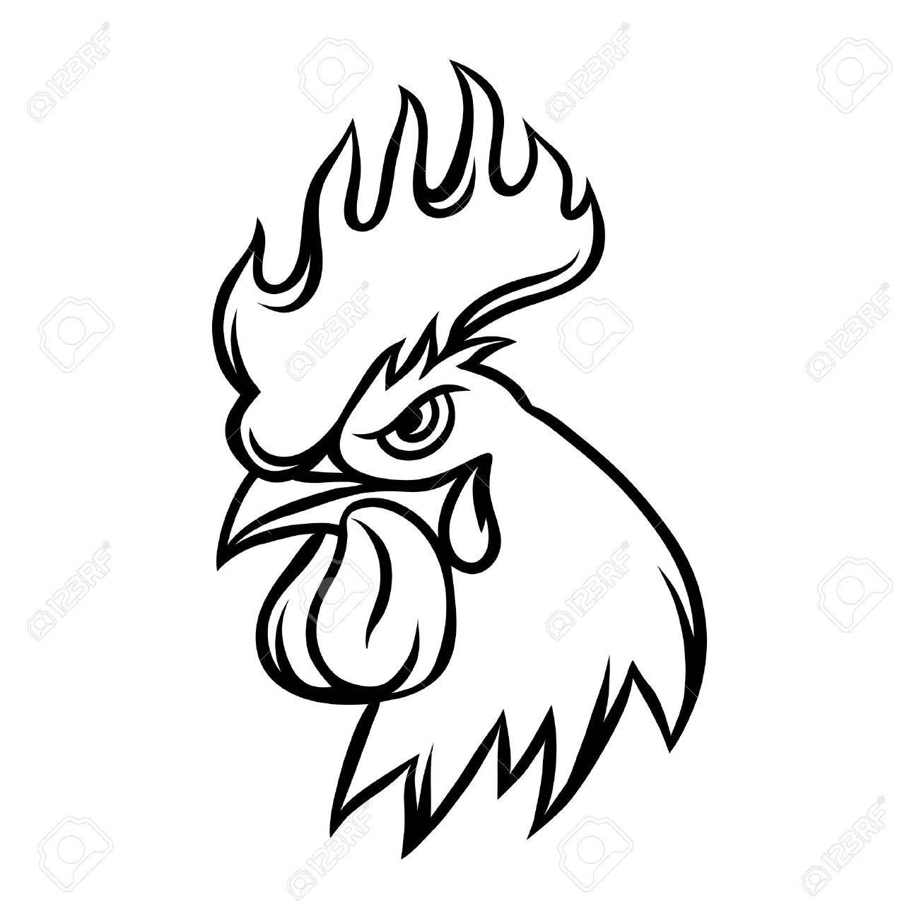 1300x1300 Rooster Head Drawing Chicken Drawing In Drawings, Tribal
