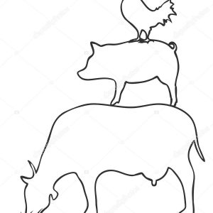 300x300 Pig Outline New Isolated Pig Cow Chicken Logo Outline Vector White