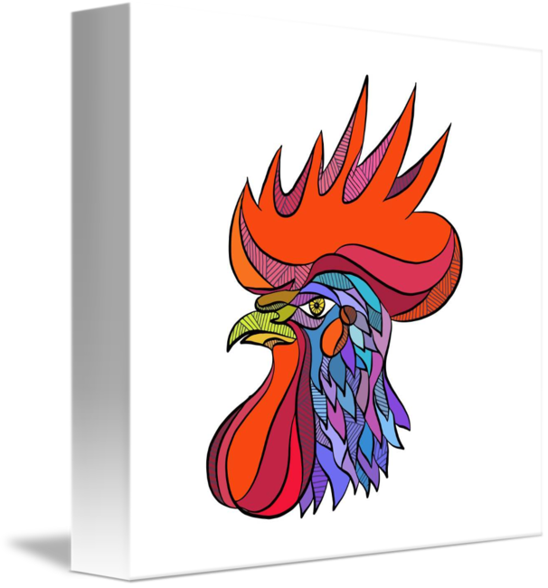 606x650 Chicken Rooster Head Side Drawing