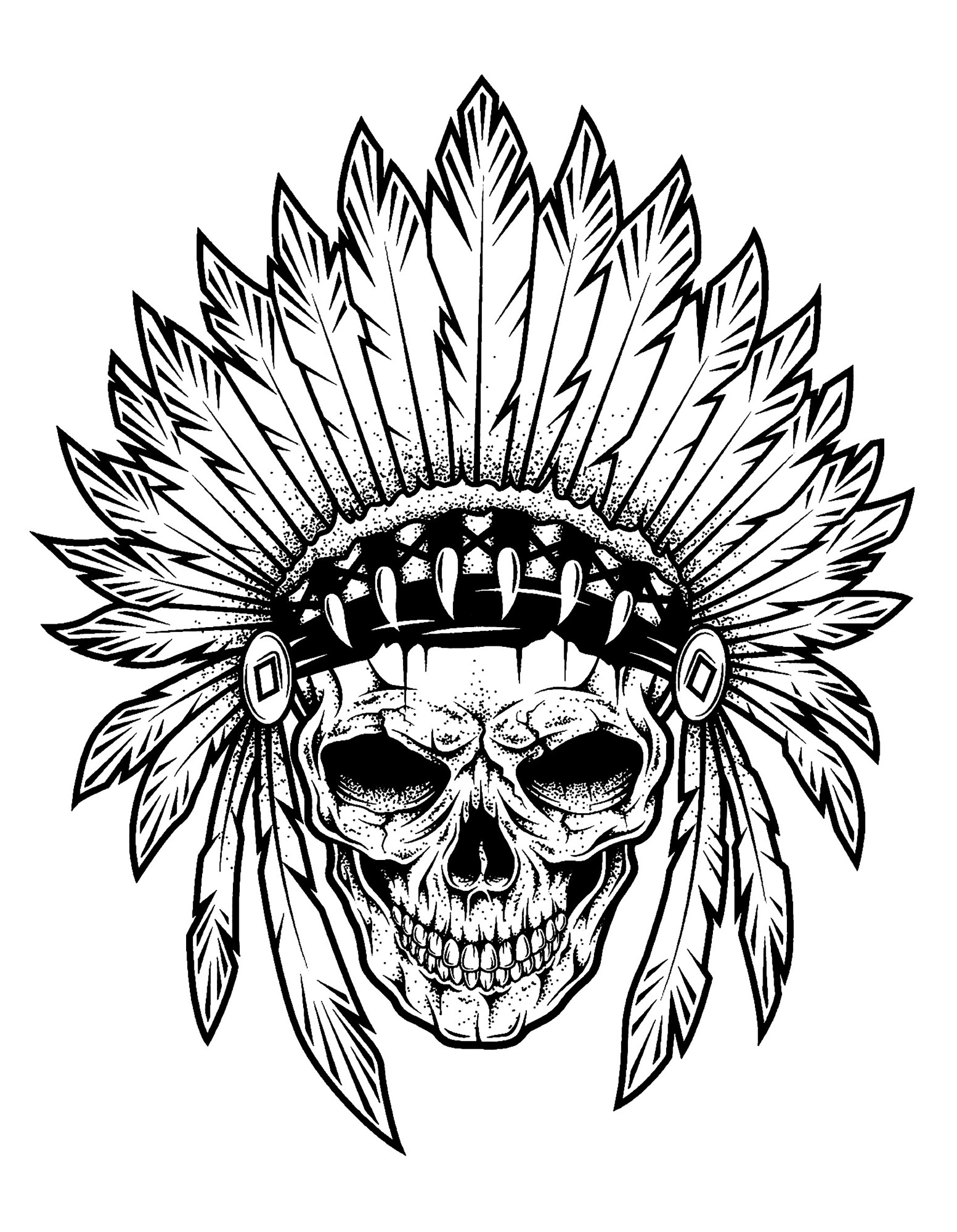 1800x2318 Skull Drawing Indian Chief For Free Download