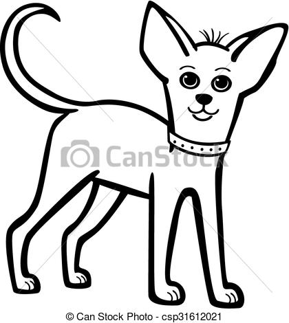 420x470 Little Chihuahua With A Collar Vector Line Drawing Small