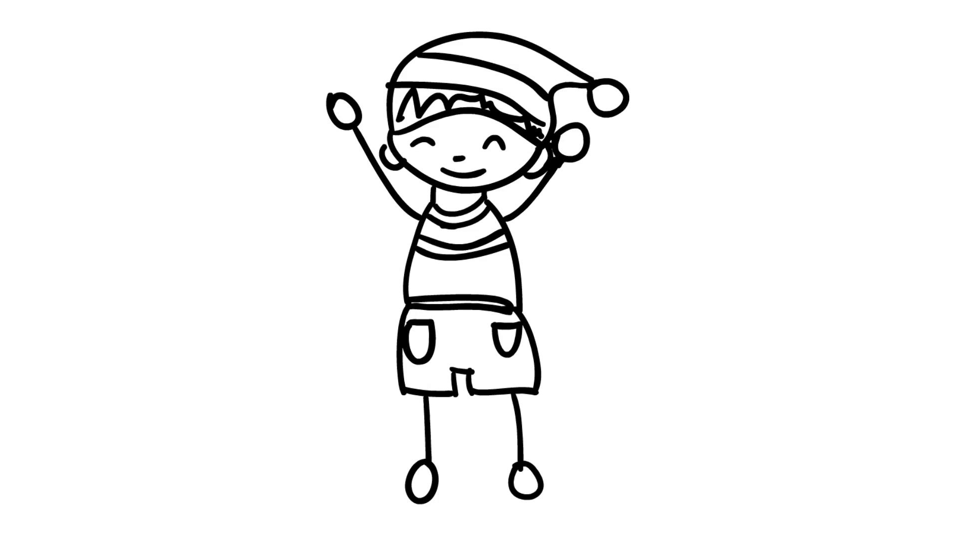 1920x1080 Christmas Kids Wearing Santa Hat Line Drawing Illustration