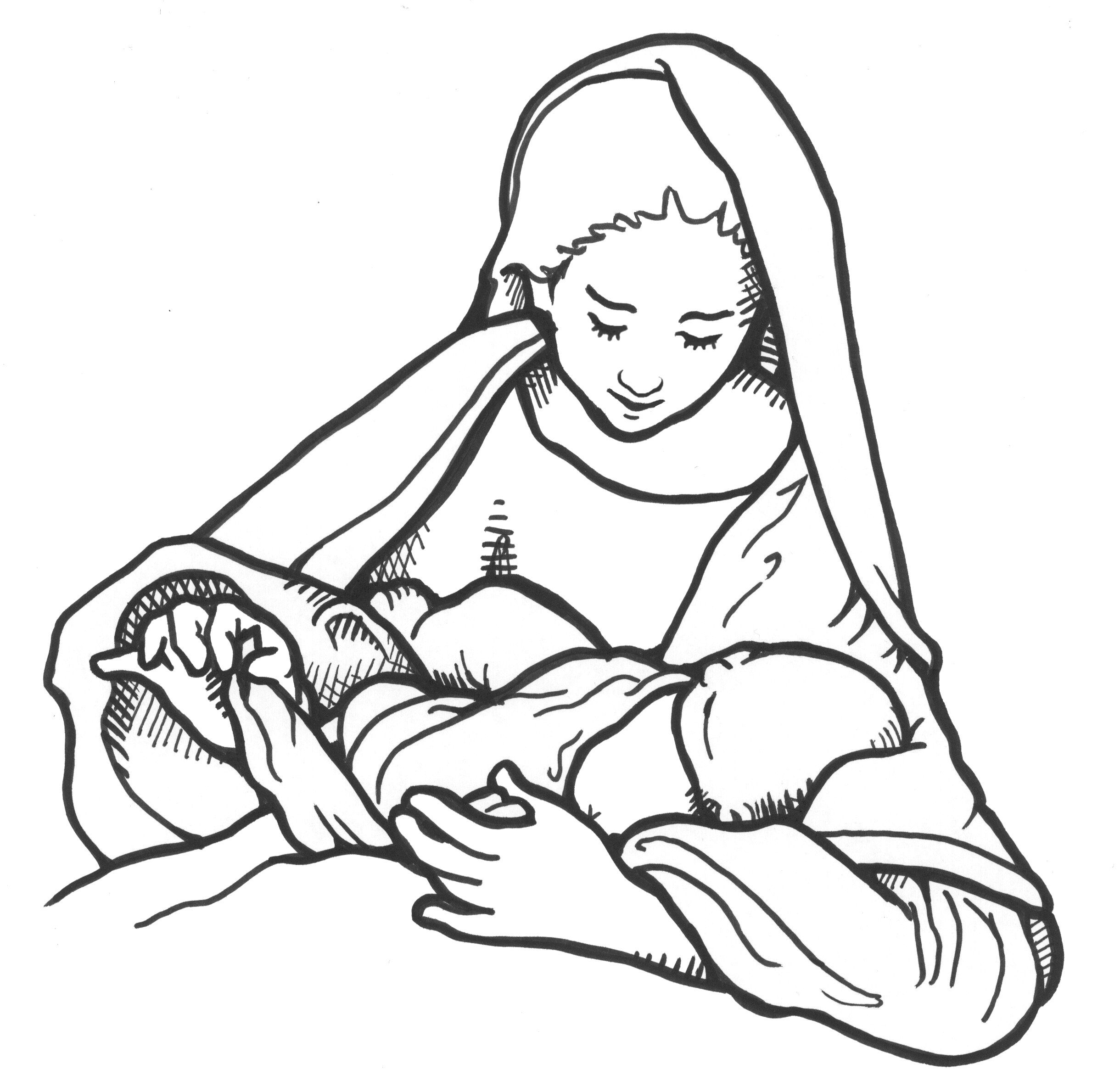 2440x2379 Madonna And Child Mary Swaddling Her Newborn Babe Line Drawing