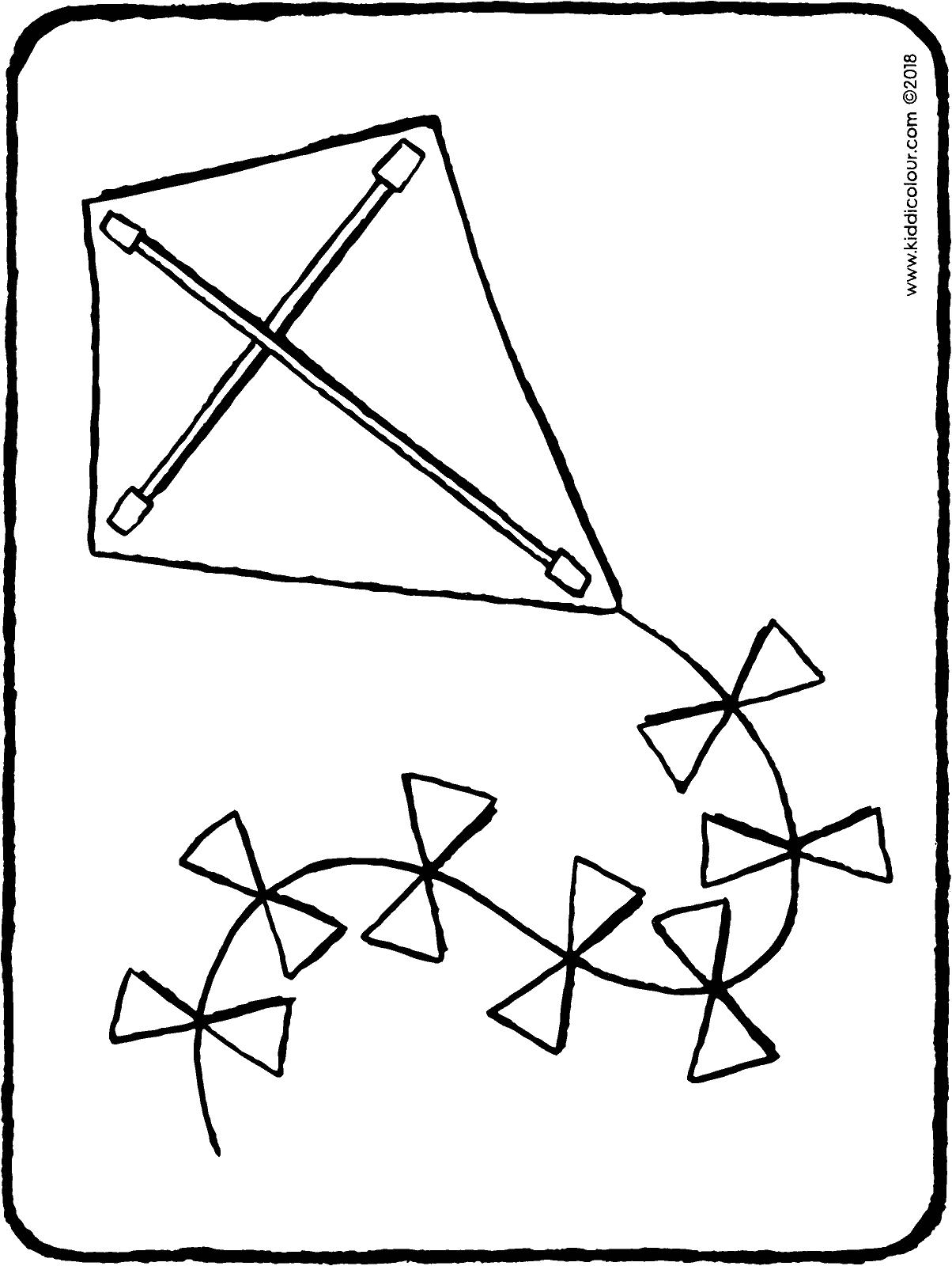 Children Flying Kite Drawing