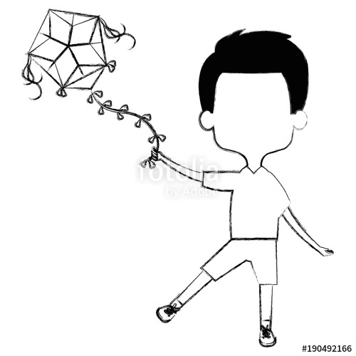 Children Flying Kite Drawing | Free download on ClipArtMag